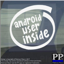 1 x Android User Inside-Window,Car,Van,Sticker,Sign,Vehicle,Adhesive,Phone,Tech